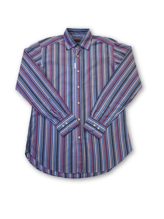 Etro Milano shirt in blue and purple stripe- khakisurfer.com Latest menswear designer brands added include Eton, Etro, Agave Denim, Pal Zileri, Circle of Gentlemen, Ralph Lauren, Scotch and Soda, Hugo Boss, Armani Jeans, Armani Collezioni.