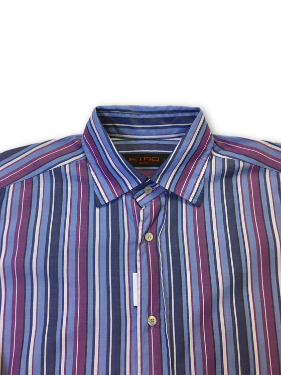 Etro Milano shirt in blue and purple stripe