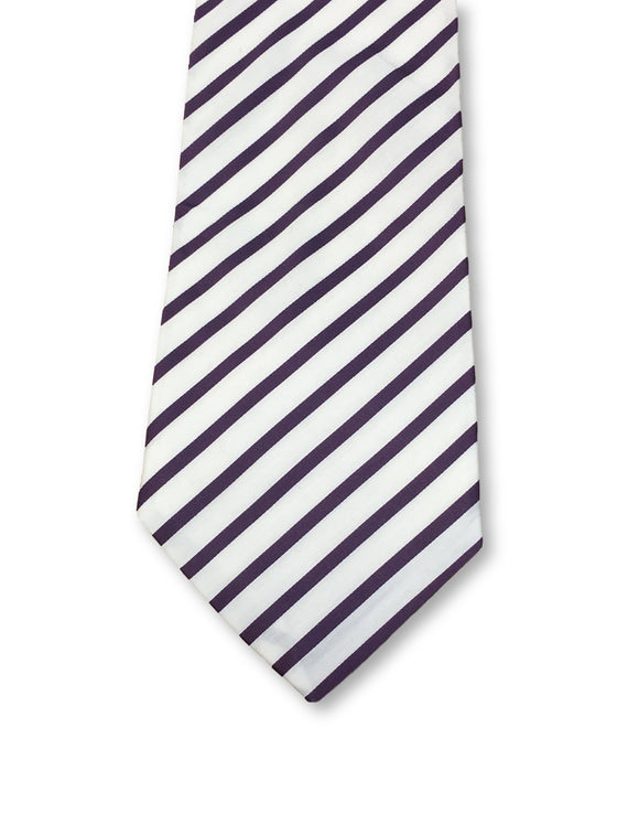 William Hunt Savile Row cotton tie in white and purple candy stripe-khakisurfer.com