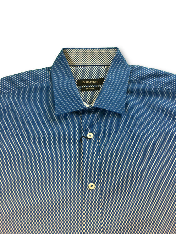 Bugatchi classic fit shirt in blue graduating to white- khakisurfer.com Latest menswear designer brands added include Eton, Etro, Agave Denim, Pal Zileri, Circle of Gentlemen, Ralph Lauren, Scotch and Soda, Hugo Boss, Armani Jeans, Armani Collezioni.