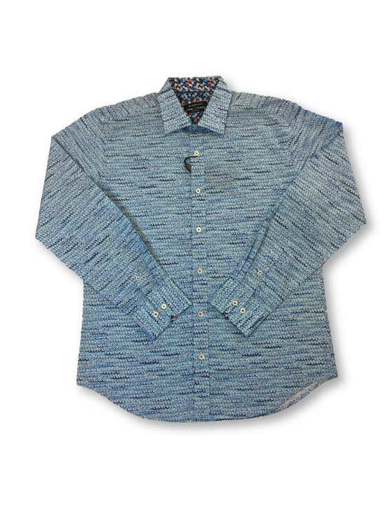 Bugatchi shaped fit shirt in blue waves print- khakisurfer.com Latest menswear designer brands added include Eton, Etro, Agave Denim, Pal Zileri, Circle of Gentlemen, Ralph Lauren, Scotch and Soda, Hugo Boss, Armani Jeans, Armani Collezioni.