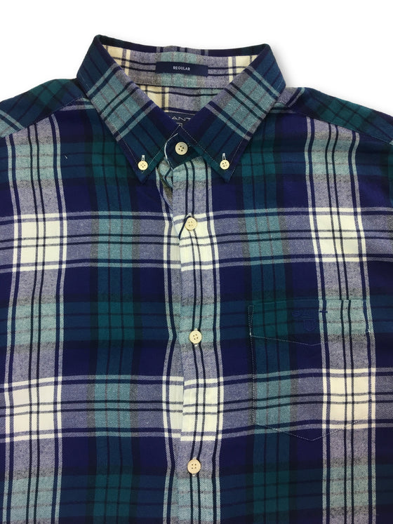Gant Windblown flannel regular fit causal shirt in Blue Coral plaid- khakisurfer.com Latest menswear designer brands added include Eton, Etro, Agave Denim, Pal Zileri, Circle of Gentlemen, Ralph Lauren, Scotch and Soda, Hugo Boss, Armani Jeans, Armani Collezioni.