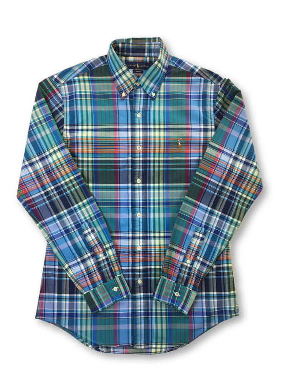 Ralph Lauren slim fit cotton casual shirt in green/blue/multi check- khakisurfer.com Latest menswear designer brands added include Eton, Etro, Agave Denim, Pal Zileri, Circle of Gentlemen, Ralph Lauren, Scotch and Soda, Hugo Boss, Armani Jeans, Armani Collezioni.
