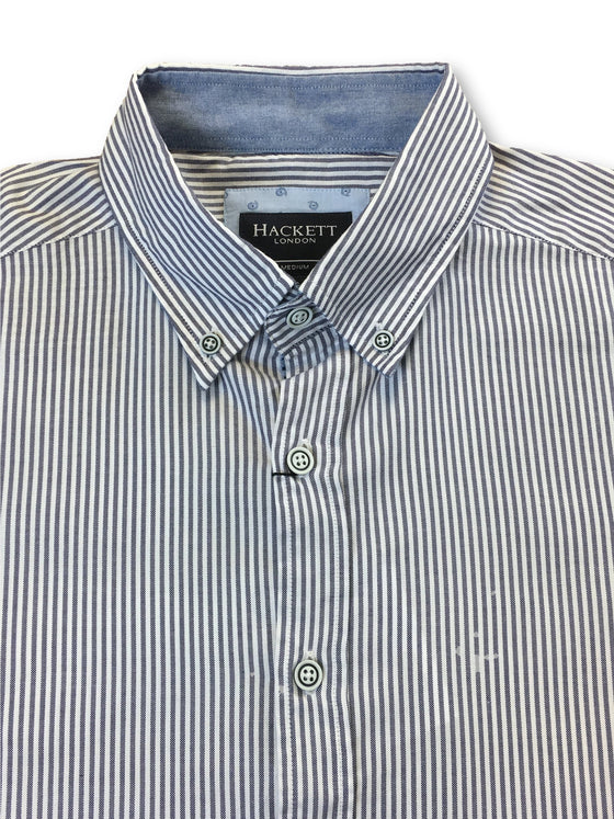 Hackett slim fit cotton casual shirt in blue and white pinpoint stripe- khakisurfer.com Latest menswear designer brands added include Eton, Etro, Agave Denim, Pal Zileri, Circle of Gentlemen, Ralph Lauren, Scotch and Soda, Hugo Boss, Armani Jeans, Armani Collezioni.