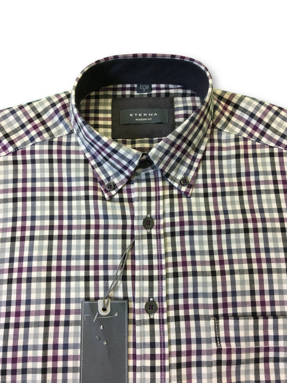 Eterna modern fit shirt in pink/white/grey micro check- khakisurfer.com Latest menswear designer brands added include Eton, Etro, Agave Denim, Pal Zileri, Circle of Gentlemen, Ralph Lauren, Scotch and Soda, Hugo Boss, Armani Jeans, Armani Collezioni.