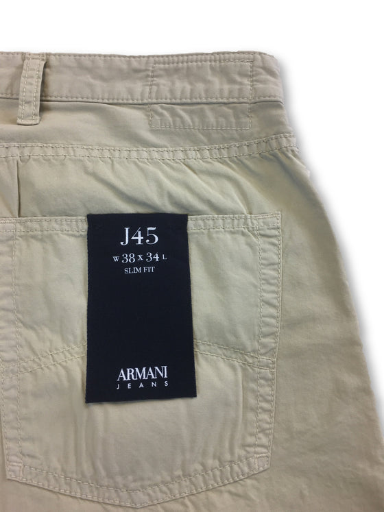 Armani Jeans J45 slim fit jeans in beige cotton- khakisurfer.com Latest menswear designer brands added include Eton, Etro, Agave Denim, Pal Zileri, Circle of Gentlemen, Ralph Lauren, Scotch and Soda, Hugo Boss, Armani Jeans, Armani Collezioni.