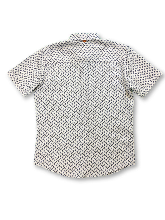 Marti Kat shirt in white and navy pineapple print- khakisurfer.com Latest menswear designer brands added include Eton, Etro, Agave Denim, Pal Zileri, Circle of Gentlemen, Ralph Lauren, Scotch and Soda, Hugo Boss, Armani Jeans, Armani Collezioni.