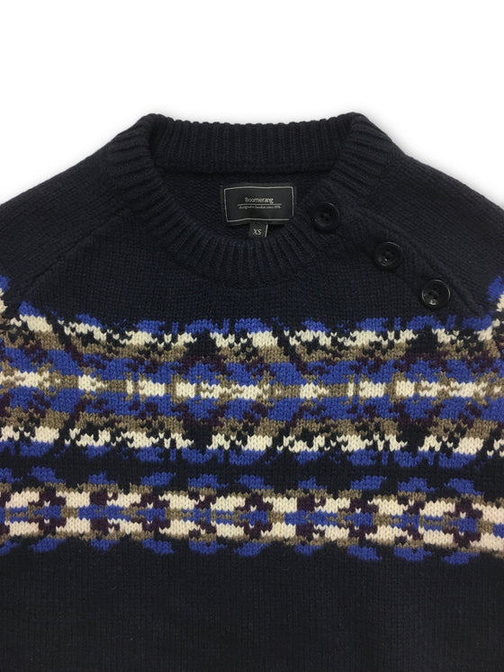 Boomerang knitwear in blue with nordic design- khakisurfer.com Latest menswear designer brands added include Eton, Etro, Agave Denim, Pal Zileri, Circle of Gentlemen, Ralph Lauren, Scotch and Soda, Hugo Boss, Armani Jeans, Armani Collezioni.