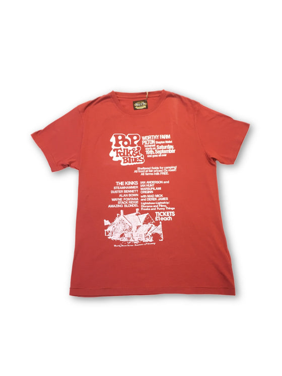 Worn By T-shirt in red 'pop, funk and blues' print