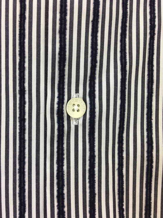 Circle of Gentlemen Kandouz shirt in blue/white jacquard stripe