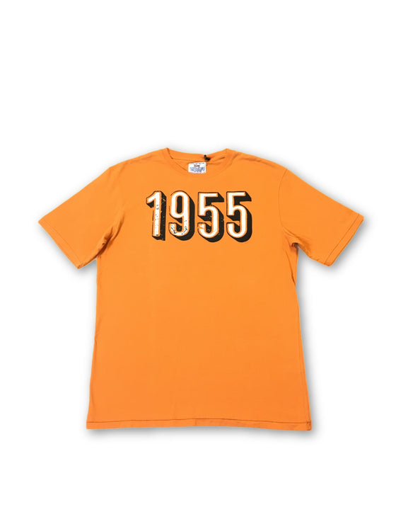 Vintage 55 'Come on' T-shirt in orange '1955 print'