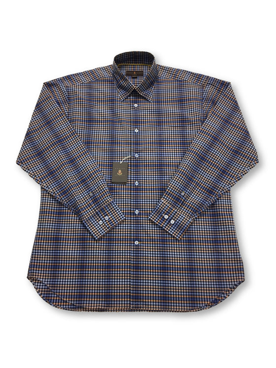 Robert Talbott classic Anderson shirt in blue/orange/navy check- khakisurfer.com Latest menswear designer brands added include Eton, Etro, Agave Denim, Pal Zileri, Circle of Gentlemen, Ralph Lauren, Scotch and Soda, Hugo Boss, Armani Jeans, Armani Collezioni.