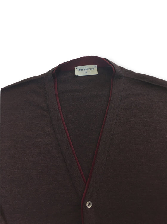 John Smedley tipped knitted cardigan in burgundy- khakisurfer.com Latest menswear designer brands added include Eton, Etro, Agave Denim, Pal Zileri, Circle of Gentlemen, Ralph Lauren, Scotch and Soda, Hugo Boss, Armani Jeans, Armani Collezioni.