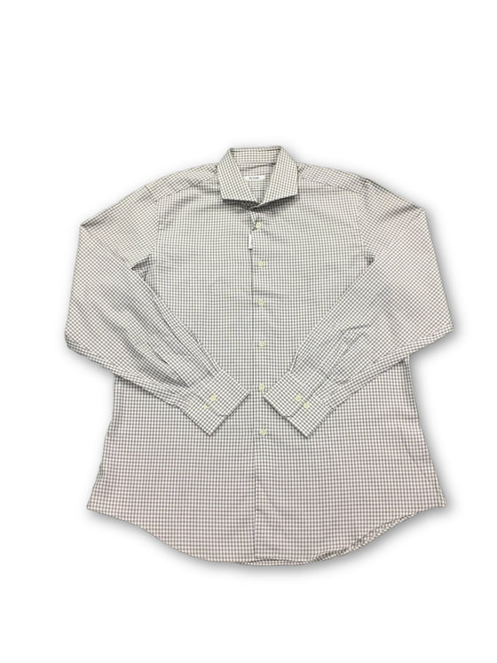 Pal Zileri shirt in white with brown woven check