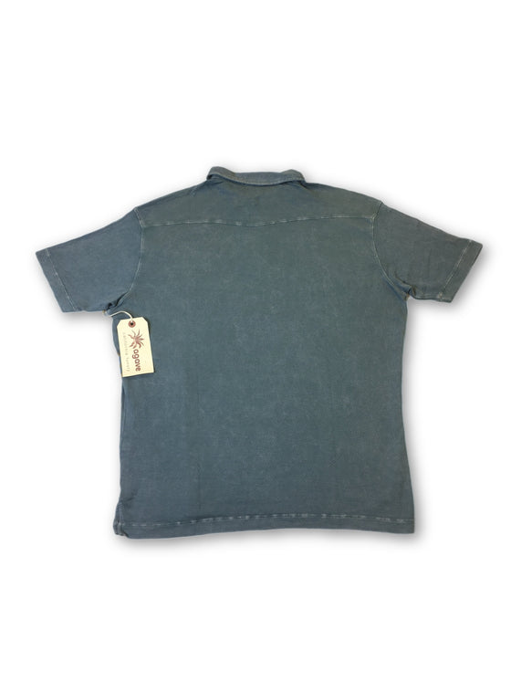 Agave Lux 'Morgan' polo shirt in denim blue tencel rib