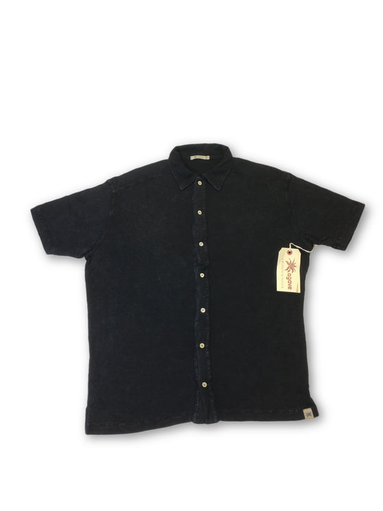 Agave Lux 'Yolla' polo shirt in black textured tencel