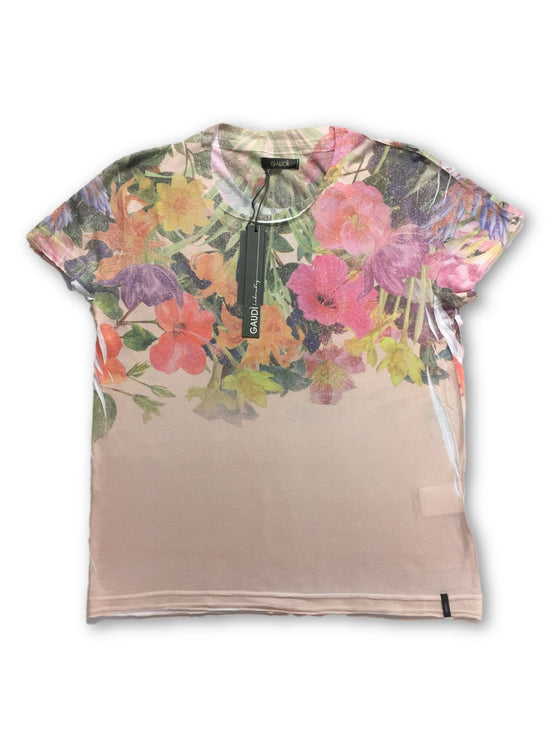 Gaudi T-shirt in pink with floral print-khakisurfer.com