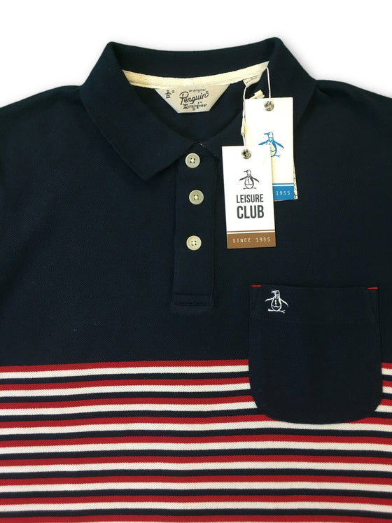 Original Penguin Condor polo in navy stripe-khakisurfer.com