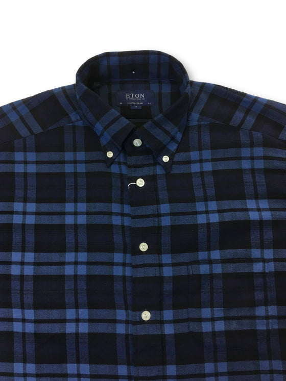 Eton Contemporary fit brushed cotton casual shirt in navy and blue check-khakisurfer.com