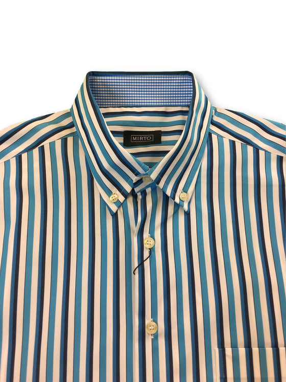Mirto short sleeved shirt in turquoise and white stripe- khakisurfer.com Latest menswear designer brands added include Eton, Etro, Agave Denim, Pal Zileri, Circle of Gentlemen, Ralph Lauren, Scotch and Soda, Hugo Boss, Armani Jeans, Armani Collezioni.