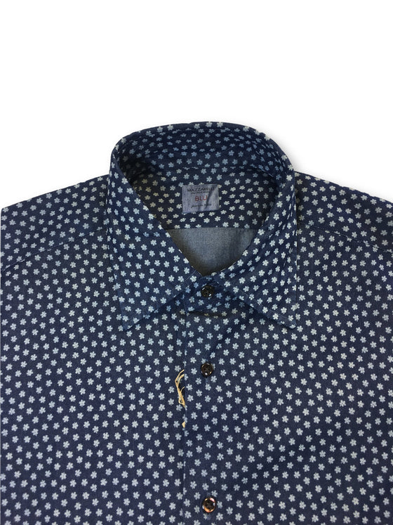 Mazzarelli Blu shirt in blue with flower print- khakisurfer.com Latest menswear designer brands added include Eton, Etro, Agave Denim, Pal Zileri, Circle of Gentlemen, Ralph Lauren, Scotch and Soda, Hugo Boss, Armani Jeans, Armani Collezioni.