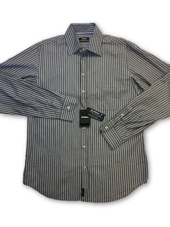 Strellson Trend Line slim fit shirt in grey stripe- khakisurfer.com Latest menswear designer brands added include Eton, Etro, Agave Denim, Pal Zileri, Circle of Gentlemen, Ralph Lauren, Scotch and Soda, Hugo Boss, Armani Jeans, Armani Collezioni.