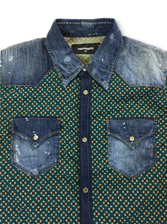 Dsquared2 cotton casual shirt in denim and green flower design- khakisurfer.com Latest menswear designer brands added include Eton, Etro, Agave Denim, Pal Zileri, Circle of Gentlemen, Ralph Lauren, Scotch and Soda, Hugo Boss, Armani Jeans, Armani Collezioni.