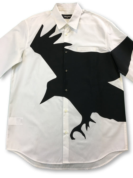 Dsquared2 cotton casual shirt in white with black eagle- khakisurfer.com Latest menswear designer brands added include Eton, Etro, Agave Denim, Pal Zileri, Circle of Gentlemen, Ralph Lauren, Scotch and Soda, Hugo Boss, Armani Jeans, Armani Collezioni.