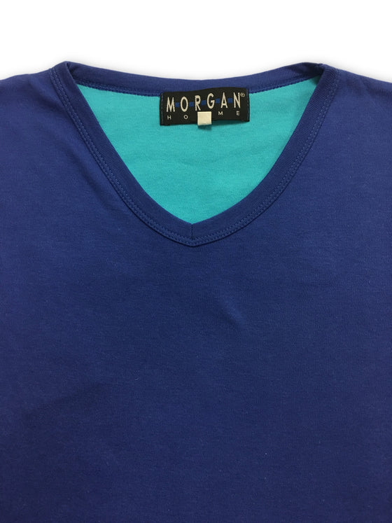 Morgan Homme Cotton V Neck T Shirt in Blue-khakisurfer.com