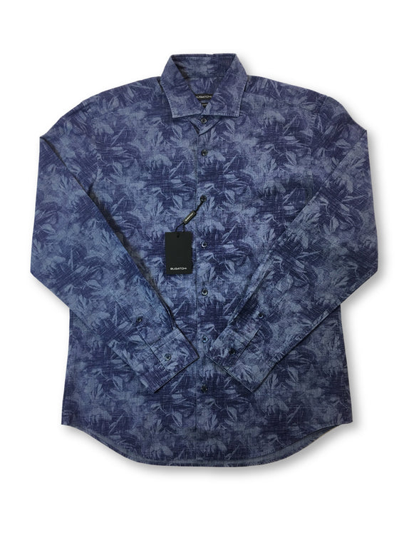 Bugatchi shaped fit shirt in navy with floral print- khakisurfer.com Latest menswear designer brands added include Eton, Etro, Agave Denim, Pal Zileri, Circle of Gentlemen, Ralph Lauren, Scotch and Soda, Hugo Boss, Armani Jeans, Armani Collezioni.