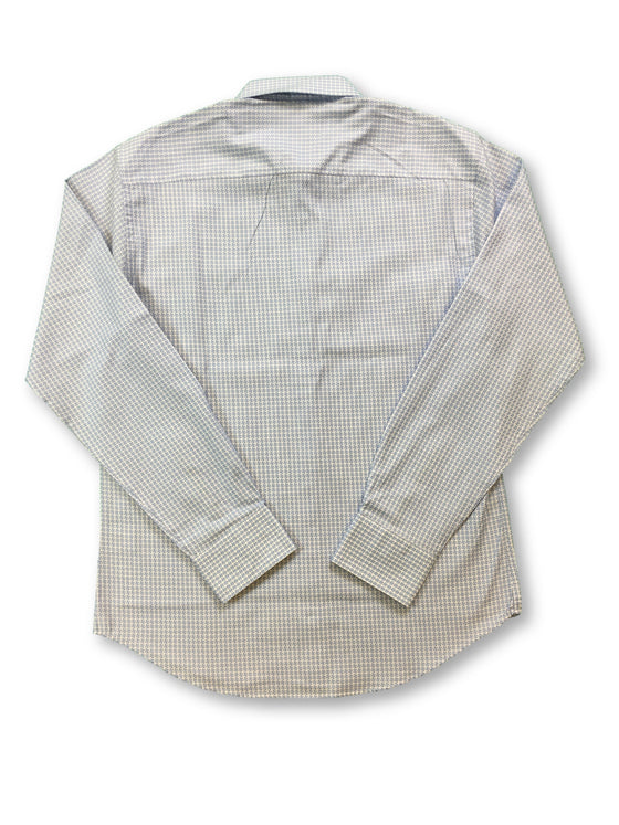 Bugatchi shaped fit shirt in blue and white woven design