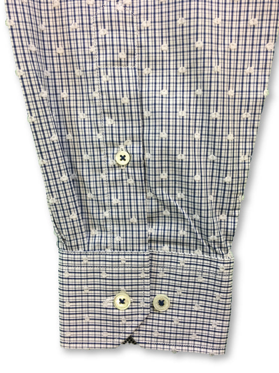 Bugatchi shaped fit shirt in navy and white check