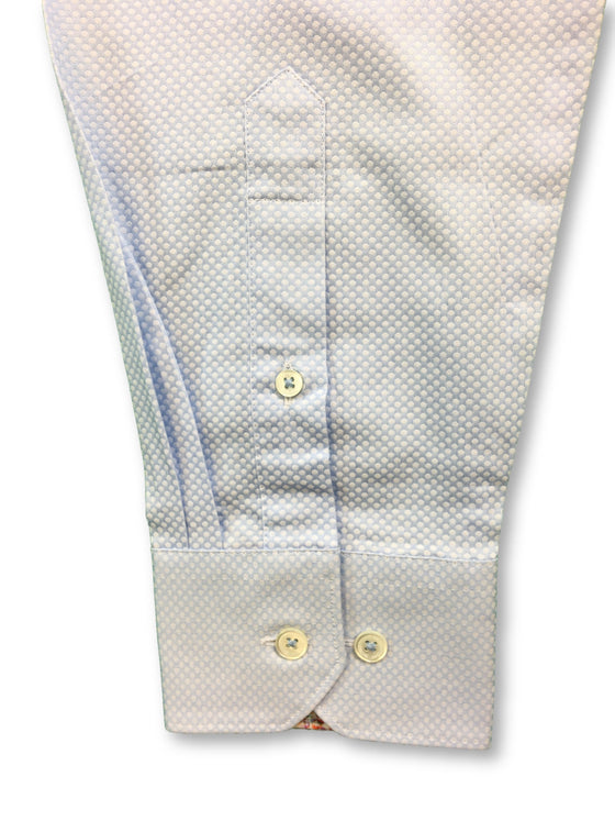 Bugatchi shaped fit shirt in blue with woven spots- khakisurfer.com Latest menswear designer brands added include Eton, Etro, Agave Denim, Pal Zileri, Circle of Gentlemen, Ralph Lauren, Scotch and Soda, Hugo Boss, Armani Jeans, Armani Collezioni.
