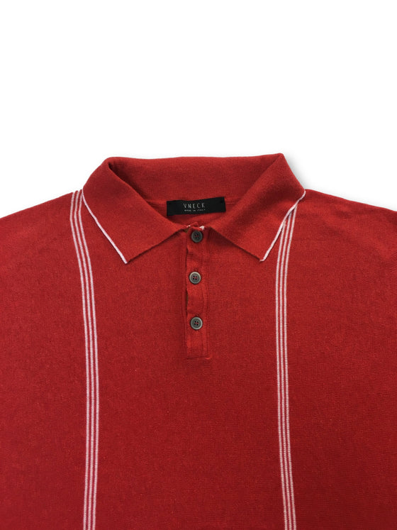 VNECK Oltre knitted cotton polo in red with white vertical stripe- khakisurfer.com Latest menswear designer brands added include Eton, Etro, Agave Denim, Pal Zileri, Circle of Gentlemen, Ralph Lauren, Scotch and Soda, Hugo Boss, Armani Jeans, Armani Collezioni.