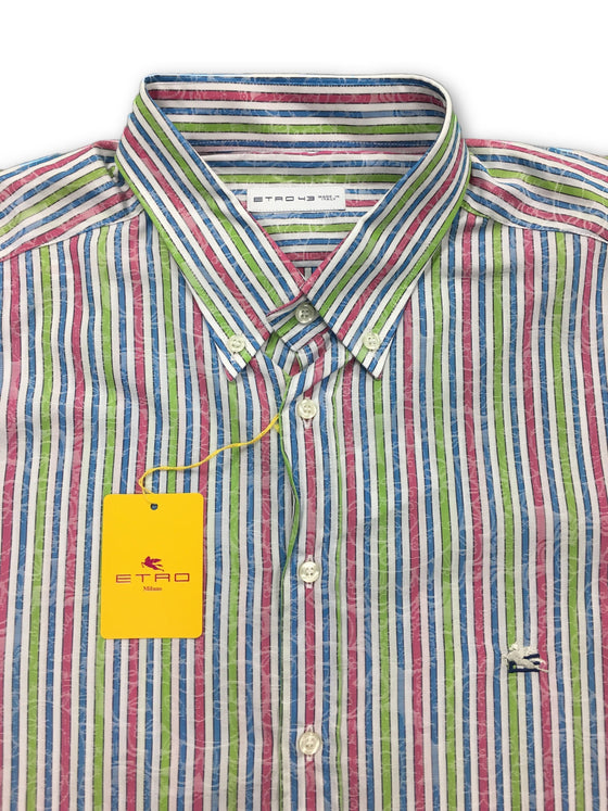 Etro shirt in white with pink/green/blue stripe