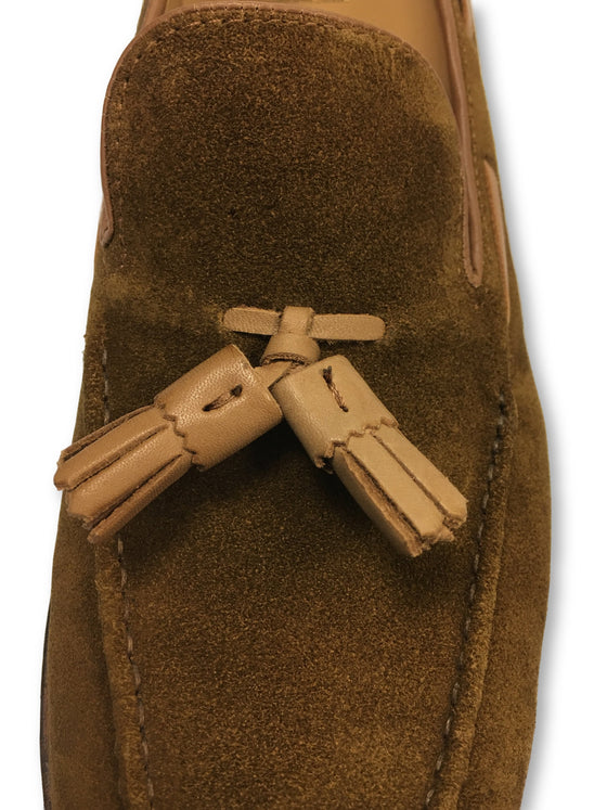 G.H. Bass & Co tassel loafers in tan suede clearance sale at khakisurfer.com