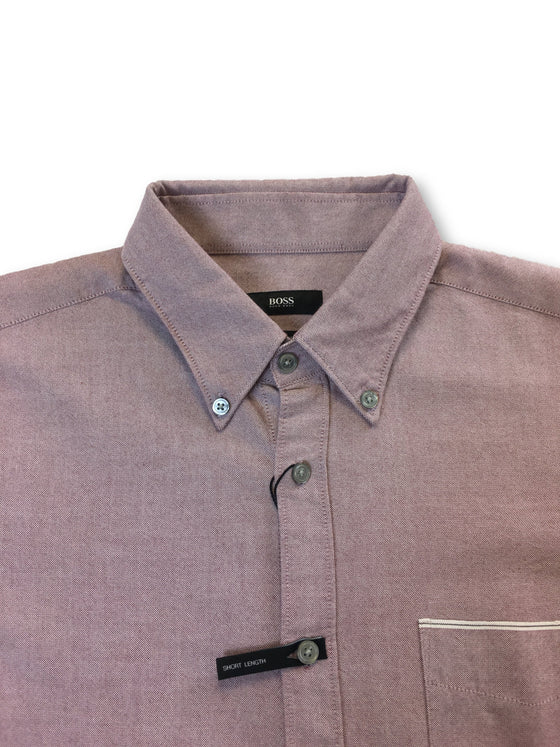 HUGO BOSS Rubens slim fit cotton shirt in dusty red-khakisurfer.com