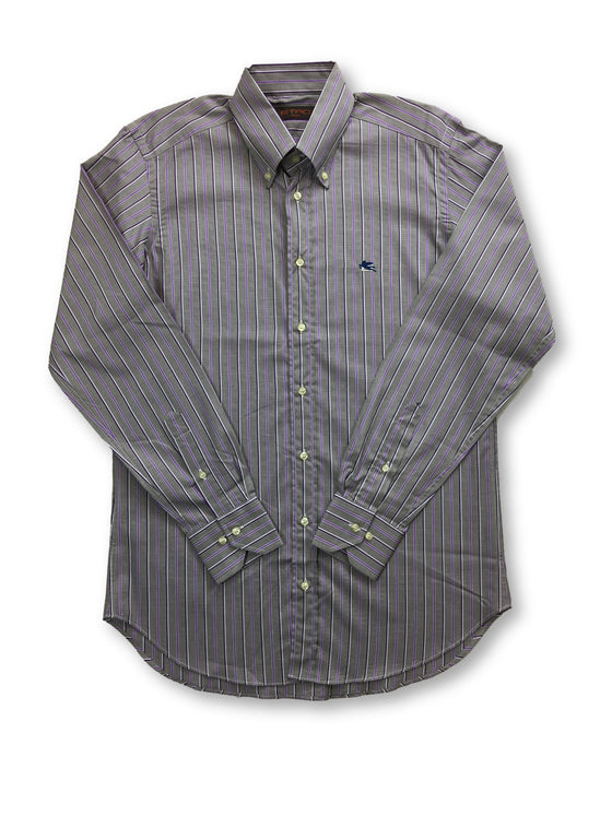 Etro shirt in grey and purple stripes