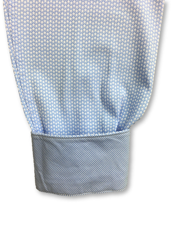 Bugatchi shaped fit shirt in blue with white woven stars