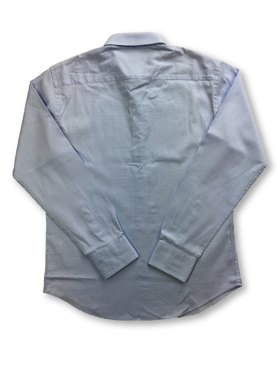 Bugatchi shaped fit shirt in blue with white woven stars- khakisurfer.com Latest menswear designer brands added include Eton, Etro, Agave Denim, Pal Zileri, Circle of Gentlemen, Ralph Lauren, Scotch and Soda, Hugo Boss, Armani Jeans, Armani Collezioni.