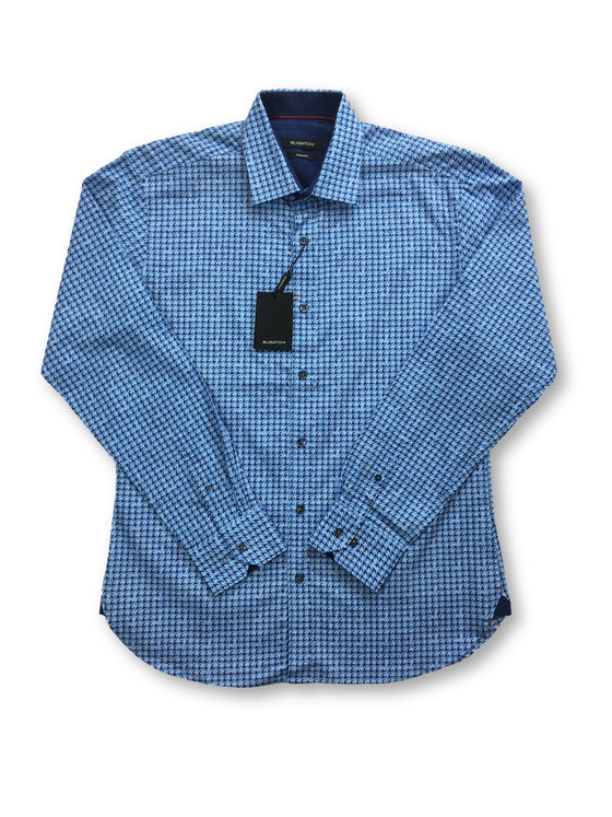 Bugatchi shaped fit shirt in blue stylized dog tooth design