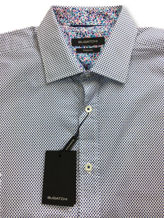 Bugatchi shaped fit shirt in white with blue micro spots print- khakisurfer.com Latest menswear designer brands added include Eton, Etro, Agave Denim, Pal Zileri, Circle of Gentlemen, Ralph Lauren, Scotch and Soda, Hugo Boss, Armani Jeans, Armani Collezioni.