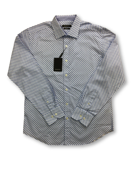 Bugatchi shaped fit shirt in sky blue print- khakisurfer.com Latest menswear designer brands added include Eton, Etro, Agave Denim, Pal Zileri, Circle of Gentlemen, Ralph Lauren, Scotch and Soda, Hugo Boss, Armani Jeans, Armani Collezioni.