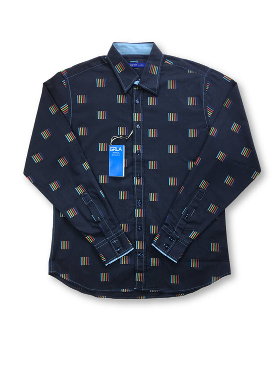 Georg Roth shirt in navy with multi colored squares- khakisurfer.com Latest menswear designer brands added include Eton, Etro, Agave Denim, Pal Zileri, Circle of Gentlemen, Ralph Lauren, Scotch and Soda, Hugo Boss, Armani Jeans, Armani Collezioni.
