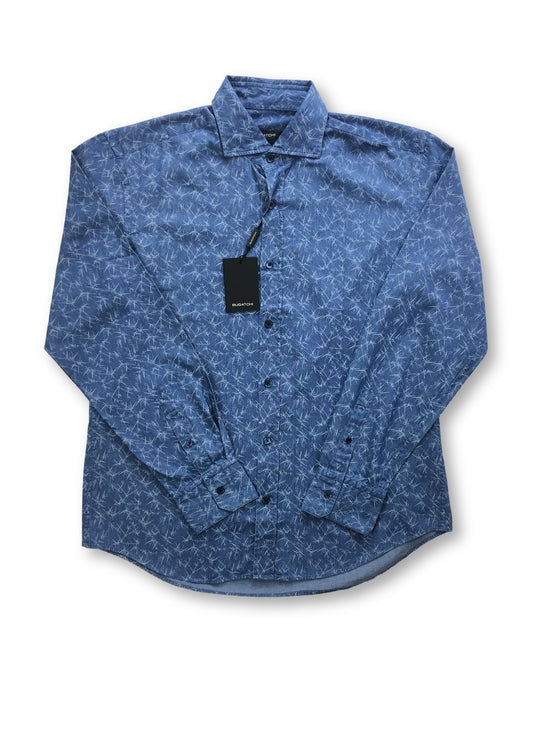 Bugatchi shaped fit shirt in denim blue with abstract print- khakisurfer.com Latest menswear designer brands added include Eton, Etro, Agave Denim, Pal Zileri, Circle of Gentlemen, Ralph Lauren, Scotch and Soda, Hugo Boss, Armani Jeans, Armani Collezioni.