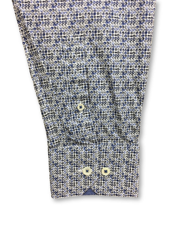 Bugatchi shaped fit shirt with blue and grey micro print