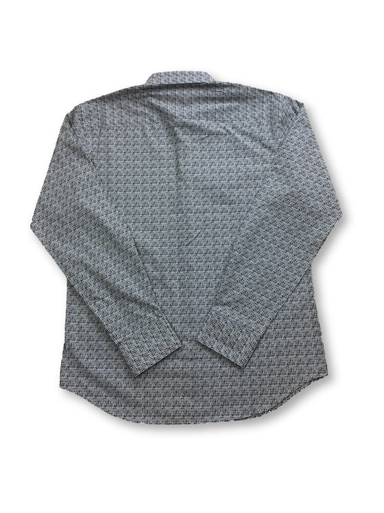 Bugatchi shaped fit shirt with blue and grey micro print- khakisurfer.com Latest menswear designer brands added include Eton, Etro, Agave Denim, Pal Zileri, Circle of Gentlemen, Ralph Lauren, Scotch and Soda, Hugo Boss, Armani Jeans, Armani Collezioni.