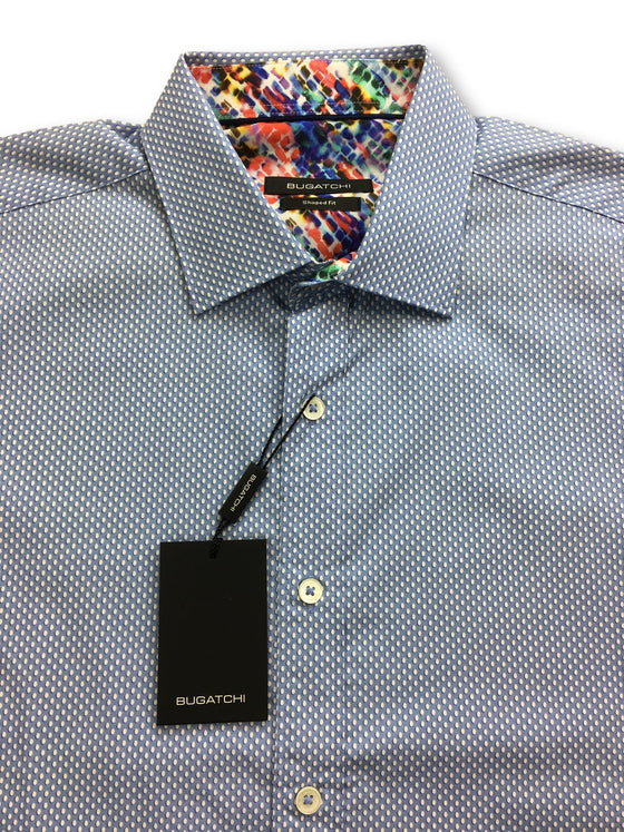 Bugatchi shaped fit shirt in blue with white dots- khakisurfer.com Latest menswear designer brands added include Eton, Etro, Agave Denim, Pal Zileri, Circle of Gentlemen, Ralph Lauren, Scotch and Soda, Hugo Boss, Armani Jeans, Armani Collezioni.