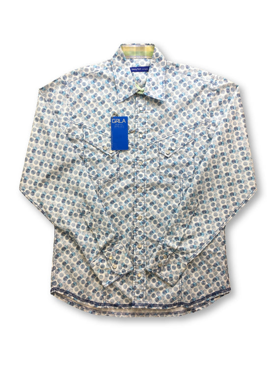 Georg Roth white shirt with turquoise circles- khakisurfer.com Latest menswear designer brands added include Eton, Etro, Agave Denim, Pal Zileri, Circle of Gentlemen, Ralph Lauren, Scotch and Soda, Hugo Boss, Armani Jeans, Armani Collezioni.