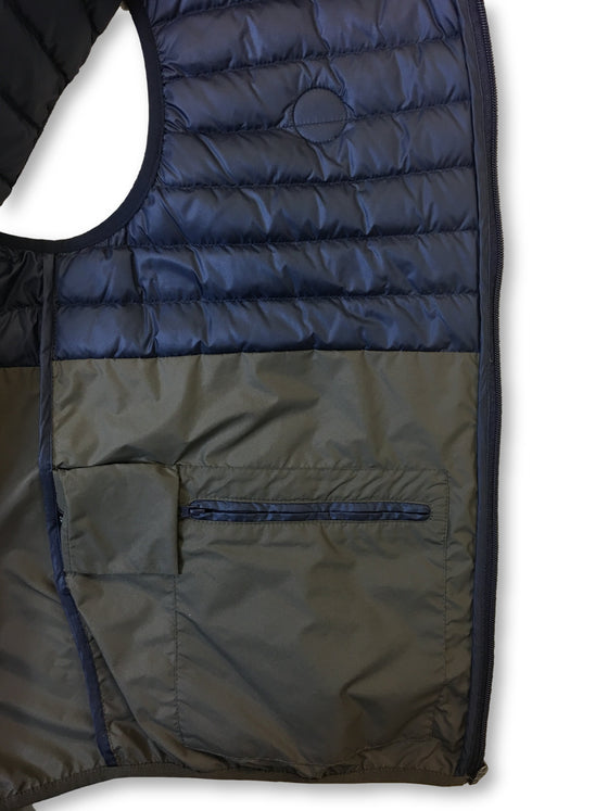 Colmar Concrete down gilet in navy and khaki- khakisurfer.com Latest menswear designer brands added include Eton, Etro, Agave Denim, Pal Zileri, Circle of Gentlemen, Ralph Lauren, Scotch and Soda, Hugo Boss, Armani Jeans, Armani Collezioni.